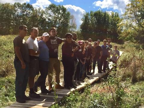 Boardwalk built at Hart's Falls by Environmental Studies students from SUNY Potsdam